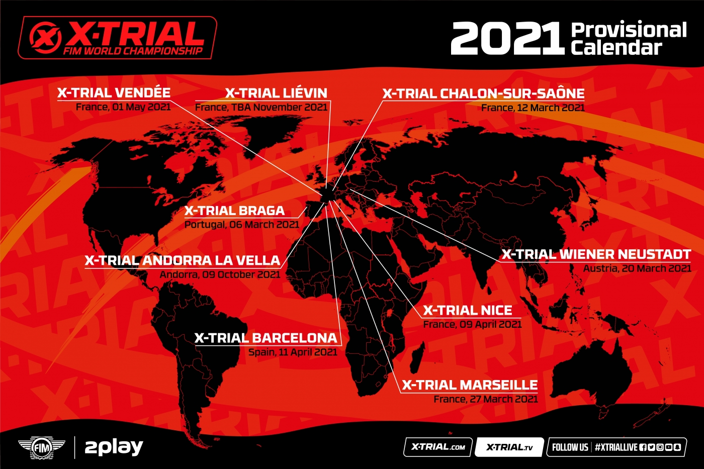 Calendrier Trial 2021 Calendrier provisoire 2021 du Championnat du Monde FIM X Trial